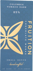 Fruition Chocolate Works, Chocolate Bar Colombia Tumaco Dark 85 Percent, 2.12 Ounce