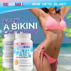 Keto Fast - BHB Keto Blast - Burn Fat Fast with Accelerated Ketosis Entry - by MX Keto Rapid Max - Feel The MX Keto Blast Effect of Calcium BHB Salts for max Rapid Keto Fat Burning and Weight Loss