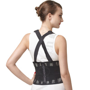 Neotech Care Back Brace with Suspenders/Shoulder Straps - Light & Breathable - Lumbar Support Belt for Lower Back Pain - Posture, Work, Gym - Black Color (Size XXL) 2X-Large
