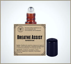 Breathe Assist Pre-Diluted Essential Oil Roll-On Blend 10ml (1/3oz) | Respiratory, Congestion, Coughs, Colds, Supports Free Breathing