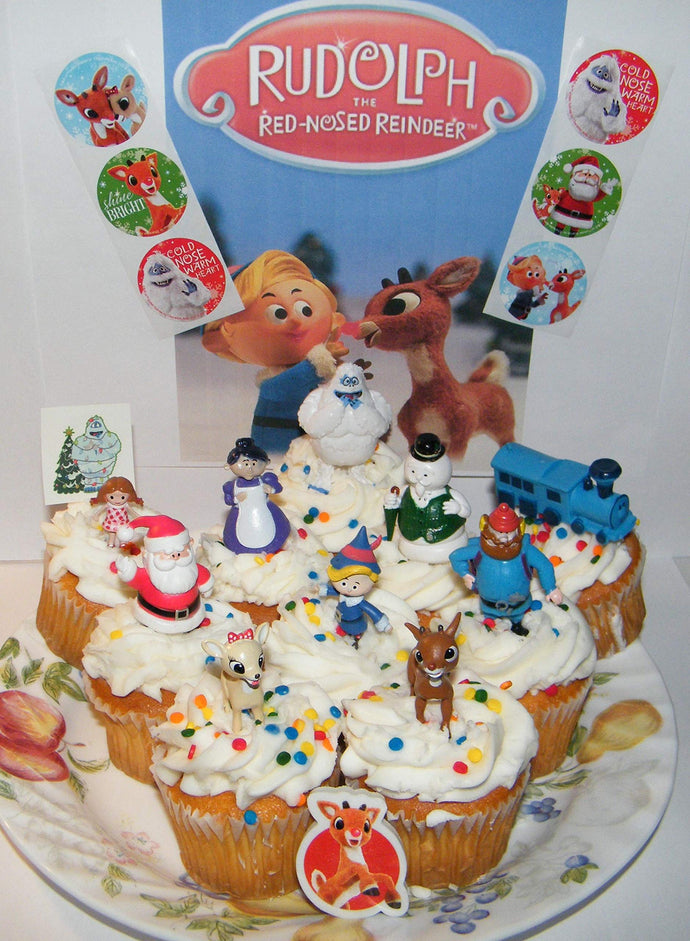 Rudolph the Red Nosed Reindeer Deluxe Cake Toppers Set of 18 Cupcake Toppers with 10 Figures, 6 Stickers and More Featuring The Classic Charcters!