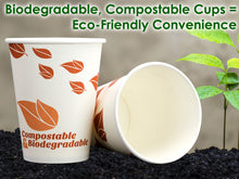 Biodegradable and Compostable 12 Oz Paper Coffee Cups. 100 Pack By Avant Grub. Medium Sized, PLA Lined Disposable Beverage Cups For Hot and Cold Drinks. For Shops, Kiosks, Concession Stands and More.