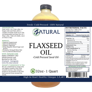 FlaxSeed Oil - 100% Pure Flax Seed Oil - 0 Additives - 0 Fillers - Cold Pressed - Unrefined (32 Ounce) 32 Ounce