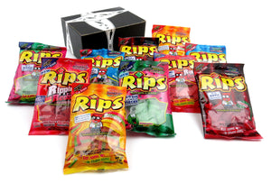 RIPS Licorice 5-Flavor Variety: Two 4 oz Bags Each of Strawberry/Green Apple, Rippin' Red, Watermelon, Rainbow, and Cherry in a BlackTie Box (10 Items Total)