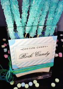 Candy Buffet Store - Rock Candy On a Stick, Light Blue (Cotton Candy Flavored, 36 Count). Great for Frozen movie and Elsa Parties Cotton Candy