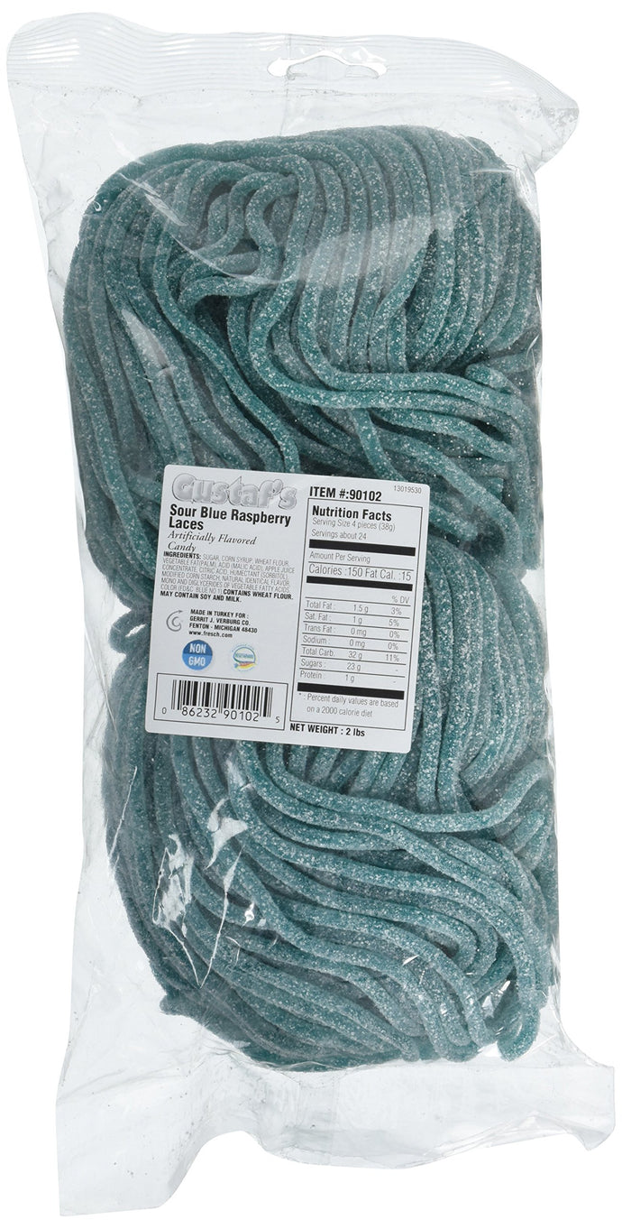 Gustaf's Sour Blue Raspberry Laces, (2 lb. bag) - 2 lb. bag