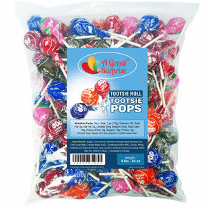 Tootsie Pops - Tootsie Roll Pops - Assorted Flavored Lollipops, Bulk Candy 4 LB Party Bag Family Size Tootsie Pops