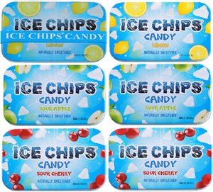 ICE CHIPS Xylitol Candy 6 Tins (Sour Pack); Low Carb, Gluten Free - includes ICE CHIPS BAND as shown