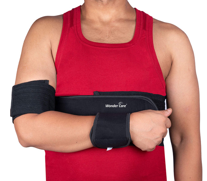 Wonder Care-Left Right Shoulder Immobilizer Arm Sling Elastic Brace for Clavicle Collar Bone Dislocation Subluxation Shoulder stabilizer Compression Brace After Rotator Cuff Surgery - Black-Size 4 41