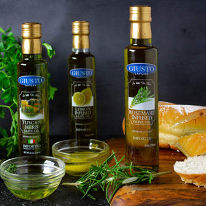 Giusto Sapore Rosemary Infused Extra Virgin Italian Olive Oil 8.5oz - Premium Superior Quality Gluten Free Gourmet Brand - Imported from Italy and Family Owned