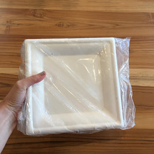 Susty Party 8-Inch Compostable Square Plates, 50-Count, Biodegradable, Sugarcane Heavy Duty Plate for Dinner, White 8""
