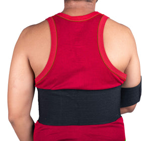 "Wonder Care-Left Right Shoulder Immobilizer Arm Sling Elastic Brace for Clavicle Collar Bone Dislocation Subluxation Shoulder stabilizer Compression Brace After Rotator Cuff Surgery - Black-Size 4 41""-45"""