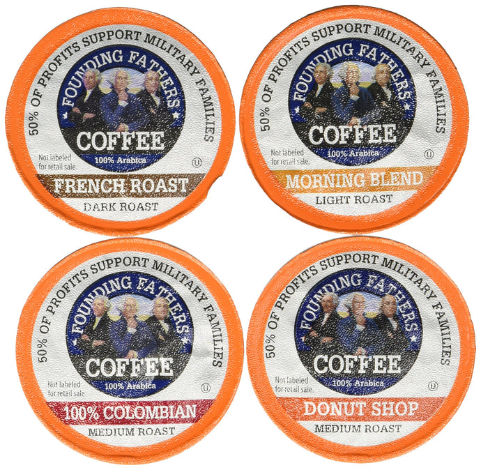 Founding Fathers Coffee Single Serve Pods for Keurig 2.0 K-Cup Brewers, Variety Pack (20 French Roast, 20 Morning Blend, 20 Colombian, 20 Donut Shop) 80 Count