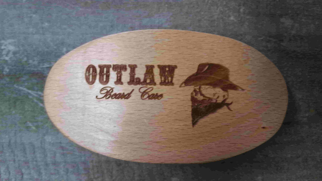 Peach Wood Beard Brush with Boars Hair Bristles - Outlaw Beard Care