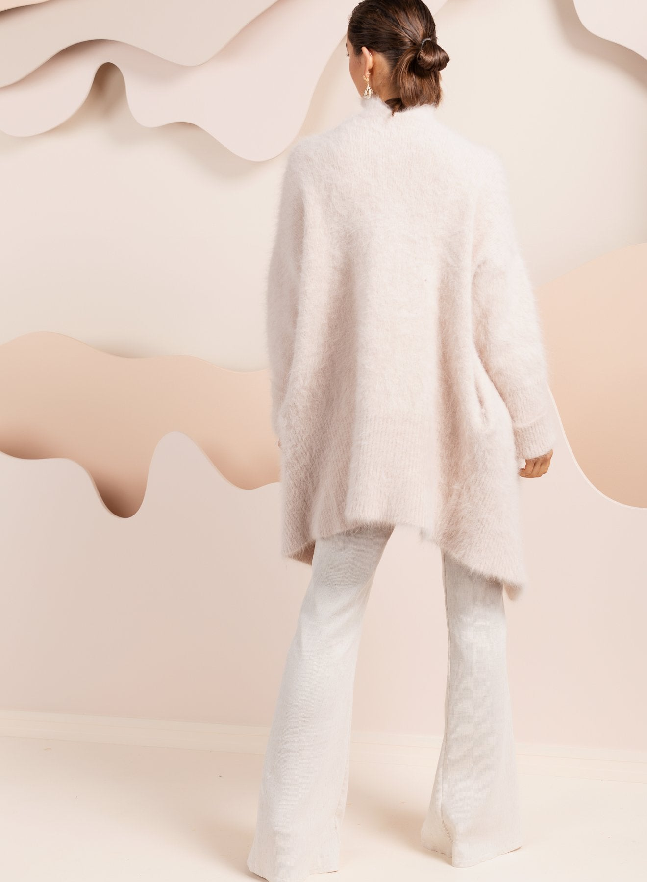 Angora fluffy cardigan in oatmeal pink