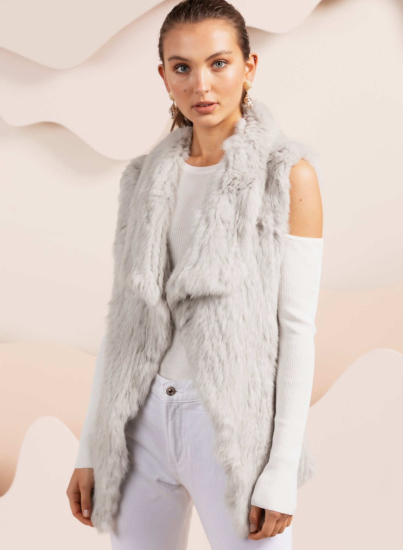Barcelona Light Grey Fur Vest
