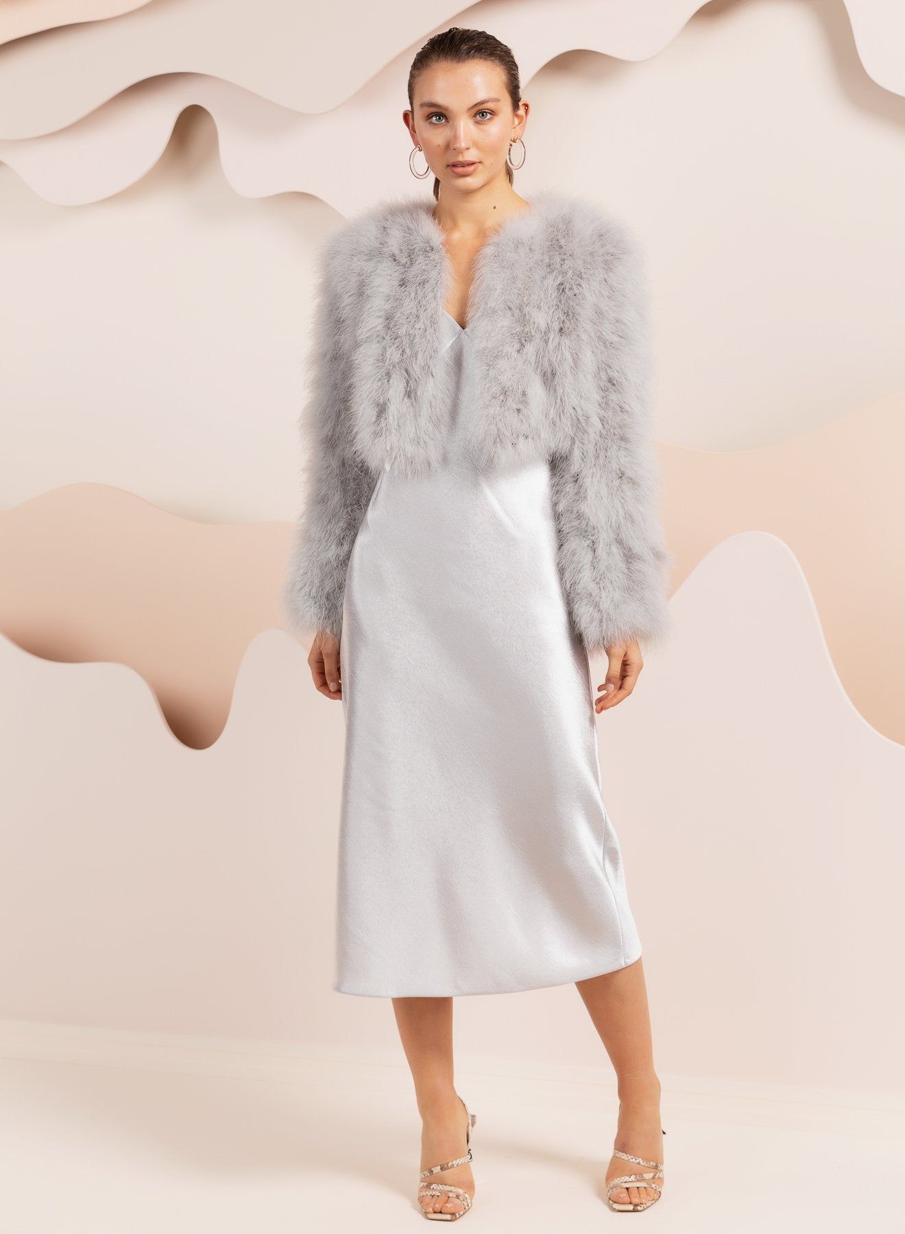 bubish Bridesmaid feather jacket in light grey