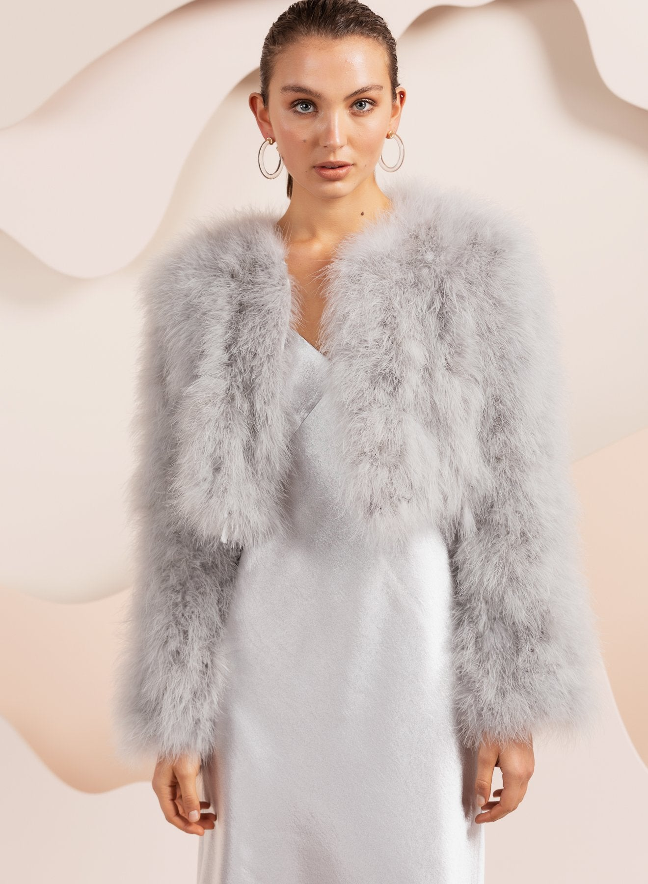 bubish Bridal feather jacket in light grey