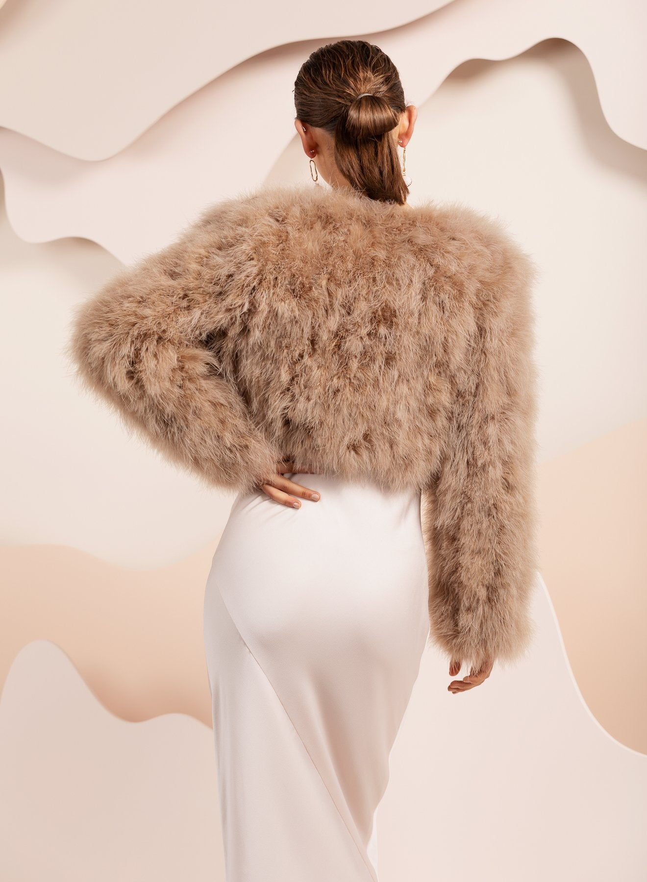 Brown bridal feather bolero jacket by bubish