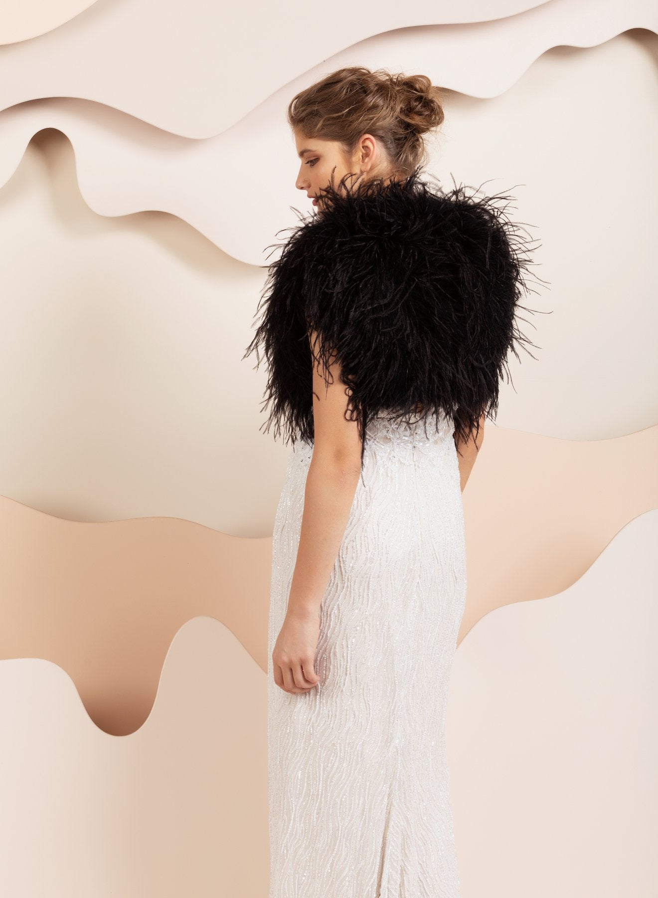 Berlin Bridal Feather Bolero - Black