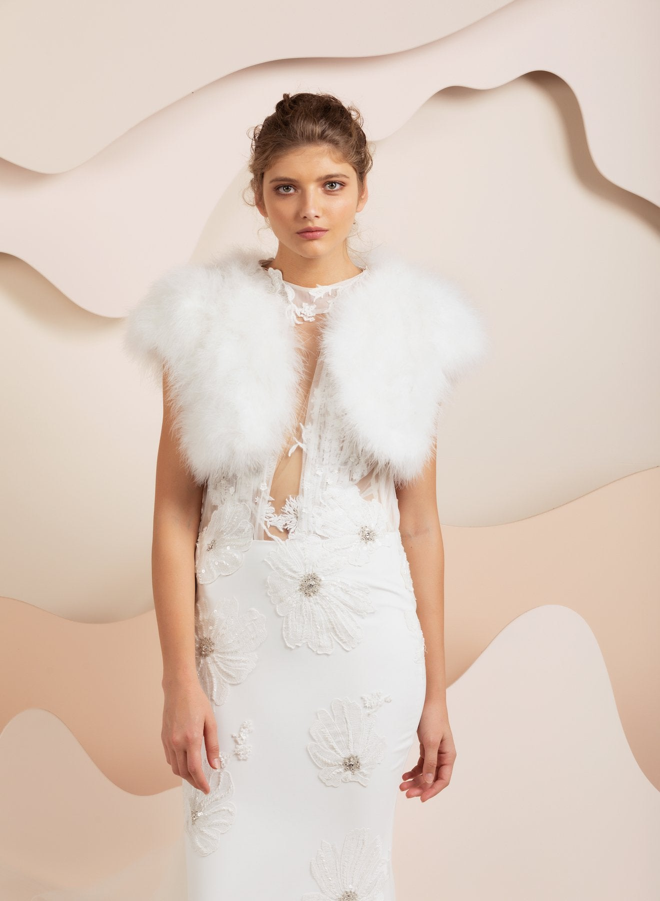Manhattan Feather Bolero - White