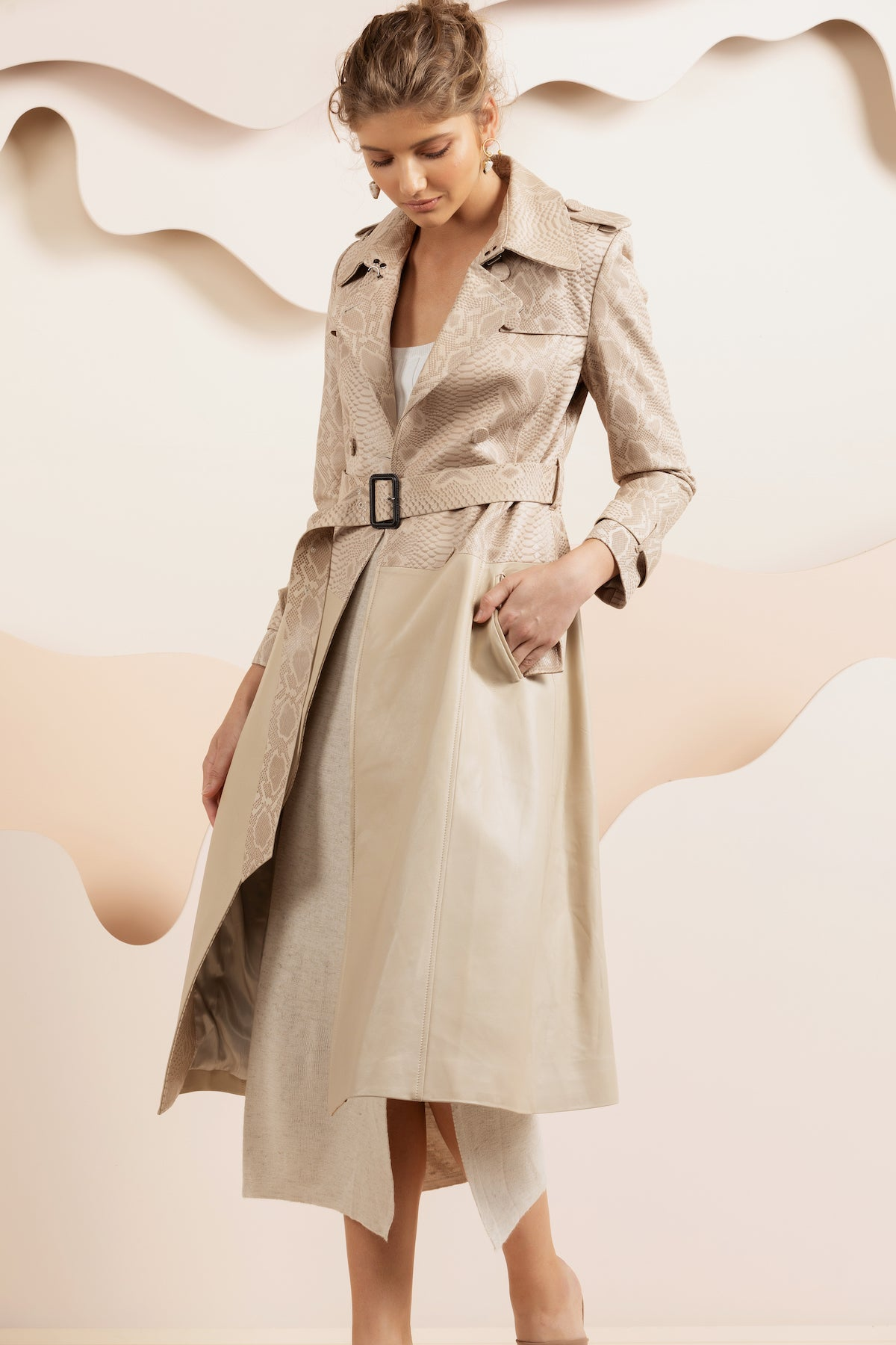 Bella Leather Trench Coat