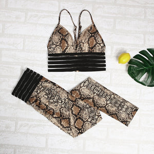 NORMOV Fitness Two Piece Set Tracksuit Women Leopard Snake Bra And Leggings Clothes Outfits Matching Sets Sports Sweatsuit