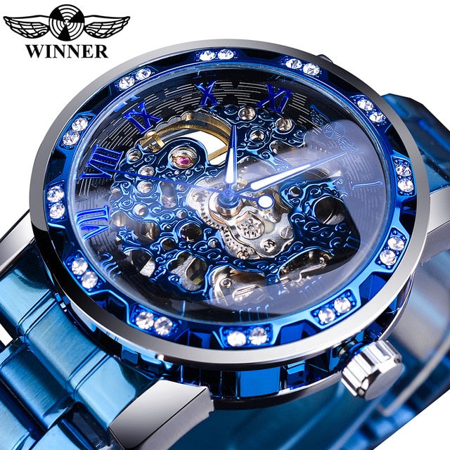 Luxury Male Mechanical Skeleton Wrist Watch