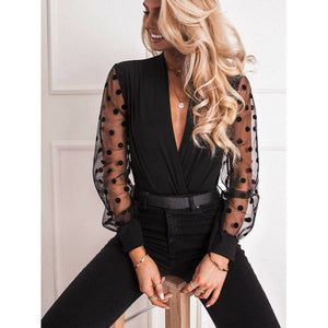 V-neck transparent polka dot mesh shirt