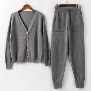 Women Knitted Tracksuit Turtleneck Sweater Casual Suit