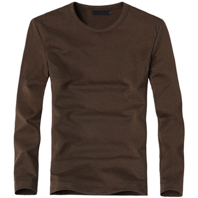 Elastic Mens T-Shirt V-Neck Long Sleeve