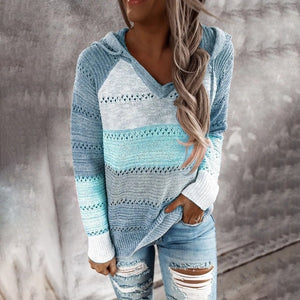 Autumn Women Patchwork Hooded Sweater Long Sleeve