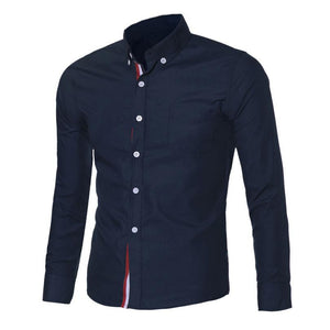 Navy Blue/Light Blue/White Mens Button Shirt Chemise Homme Slim Fit Long Sleeve Men Shirts Famous Brand Social Shirt