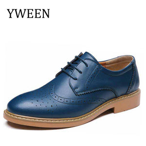 YWEEN Spring Autumn Men's Shoes Man Leather Footwear Casual Shoes Fashion Men Oxford Round Toe Office Classical Men Dress Shoes