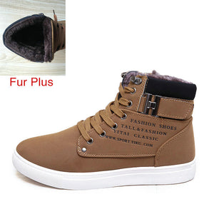 Men Shoes Fashion Warm Fur Winter Men Boots Autumn Leather Footwear For Man New High Top Canvas Casual Shoes Men