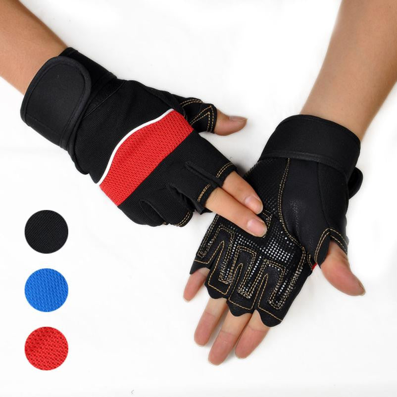 3 Colors Gloves Gym Sports Exercise Training Wrist Fitness Weight Lifting Gloves for Men Women