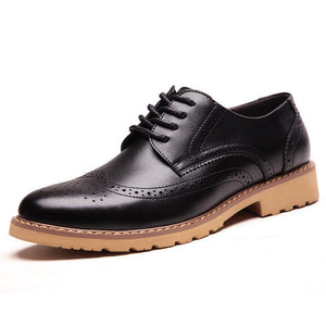 Merkmak Casual Shoes's  Men Fashion Brogue Breathable Dress Business Footwear Soft Moccasins Flats Shoeslaces Chaussures Hommes