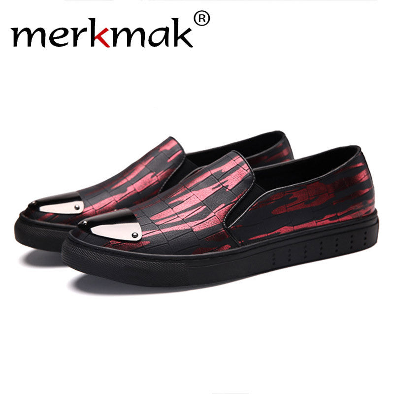 Mermak 2017 Men Loafer Shoes Fashion Casual Glossy Design Comfortable Soft Men Shoes Red Sliver Slip On Footwear Zapatos Hombres