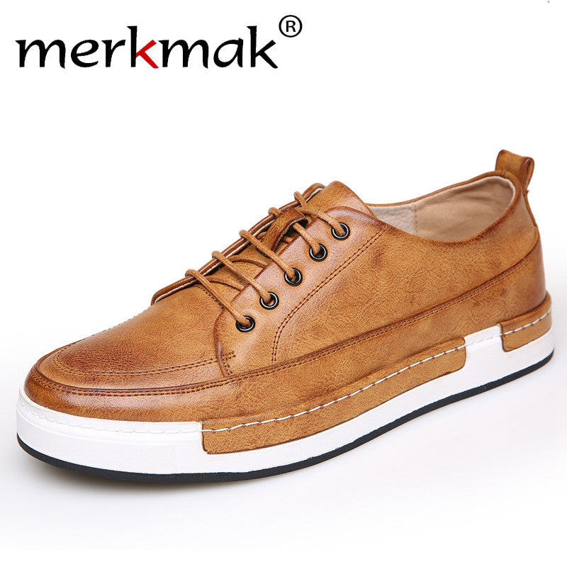 Merkmak Handmade Men Shoes Brand Casual Shoes Solid Lace-up Retro Breathable Shoes Microfiber Leather Flats Shoes Mens Footwear