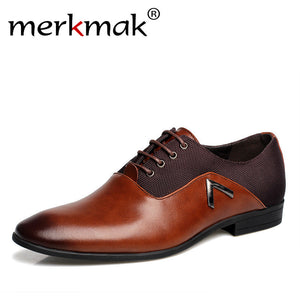 Merkmak Men Dress Italian Leather Shoes Slip On Fashion Men Leather Oxfords Formal Male Pointed Toe Luxury Brand Wedding Shoes