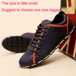 New 2017 High Quality Men PU Leather Flats Lace Up Fashion Casual Leisure Men's Flat Shoes Loafers Soft Light Male Footwear