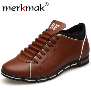 Merkmak Invisible Height Increase Men Casual Shoes High Quality Leather Mens Shoes Fashion Lace-Up Comfortable Man Luxury Shoes
