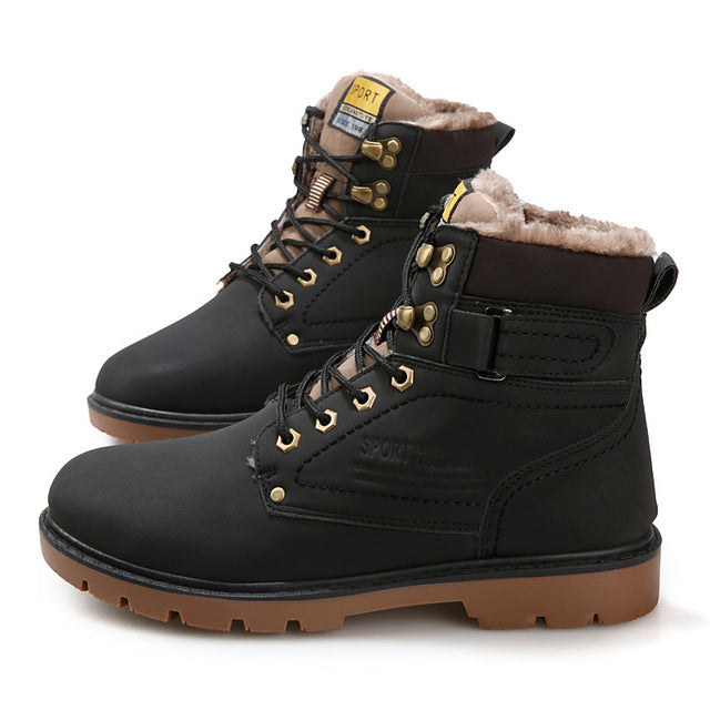 New Arrival 2017 Winter Fur Men Boots Casual Lace Up Safety Work Boot Autumn Men Platform Shoes Rubber Snow Boot Man Big Size 46