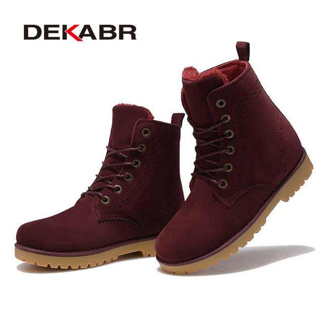 DEKABR High Quality Men Boots Winter Snow Warm Casual Shoes Men Boots Leather Plush Fur Fashion Unisex Lovers Boots Size 35-44