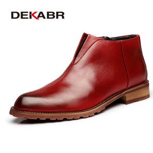 DEKABR Men Boots Fashion High Quality Comfortable Ankle Boots Casual Autumn Genuine Leather Boots Men Flat Shoes Business Shoes