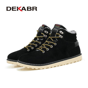 DEKABR New Arrival Lace-Up Men Fashion Boots Wear Resistant Handmade Ankle Boots Working Boots Men Casual Shoes Size 39~45