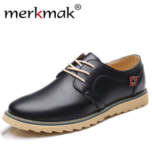 Merkmak Men Casual Leather Shoes Luxury Brand Designer Shoes for Men Comfortable Big Size 37-48 Oxfords Dress Formal Foowear