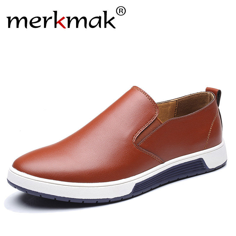 Merkmak Big Size37-48 Autumn Men Leather Loafers Slip On Casual Shoes For Mens Moccasins Brand Italian Designer Shoes Leisure