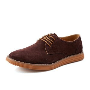 YWEEN Casual Flat Shoes For Men Spring Autumn Lace-Up Style Top Fashion Suede Brogue Shoes Large Size