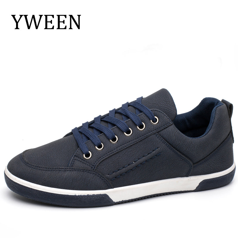 YWEEN Men's PU Leather Casual Shoes Classic Fashion Male Lace up Flats Men Sneakers Shoes